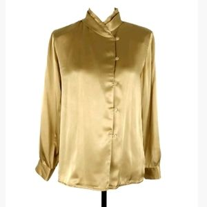Talbots gold satin long sleeve button up blouse